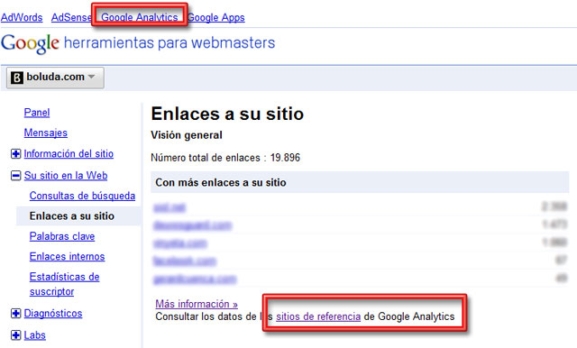Nuevos accesos de Webmaster Tools a Analytics