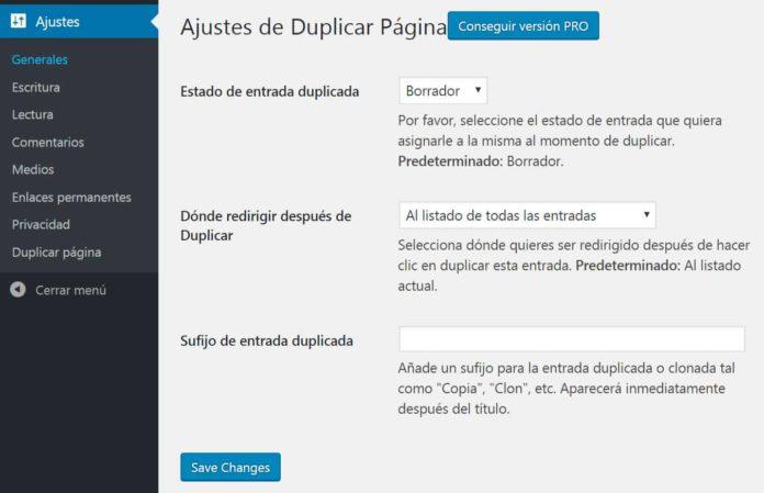 Ajustes Duplicate Page