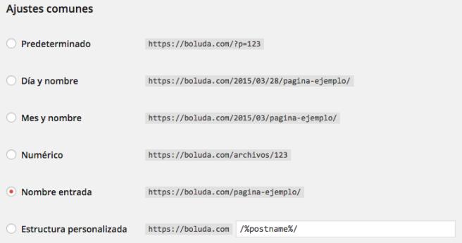 Los ajustes de los enlaces permanentes nos permiten elegir la pinta que tendrá la URL