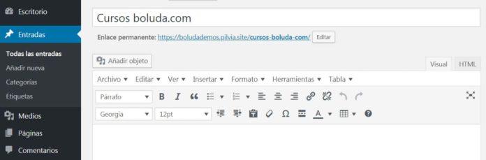Barra herramientas del editor visual TinyMCE Advanced