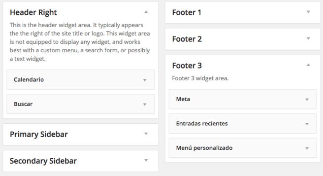 Podemos colocar tantos widgets como queramos en las widget areas