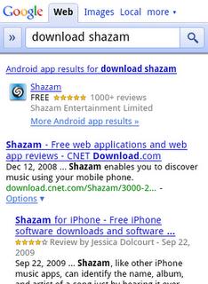Apps en los resultados de búsqueda móvil