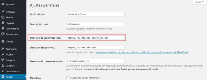 Cambiar dirección WordPress (URL)
