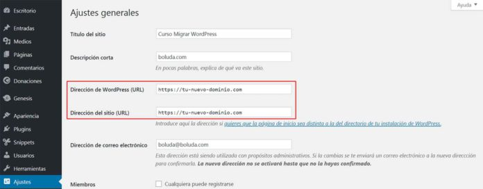 Cambiar URL WordPress