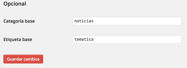 En Ajustes / Enlaces permanentes podemos modificar la categoría i etiqueta base