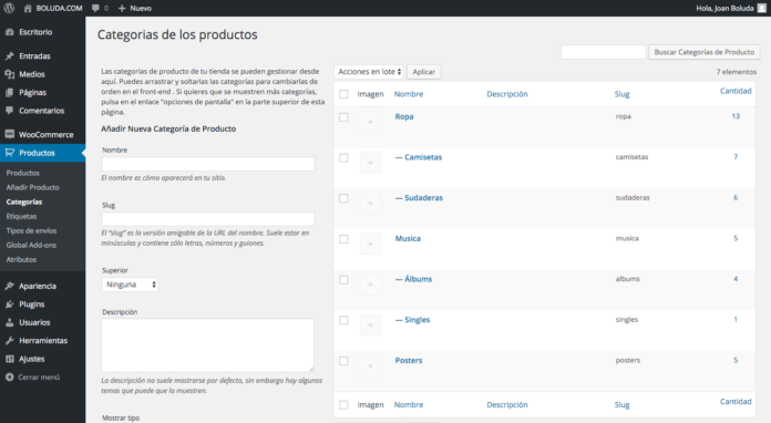 categorias woocommerce