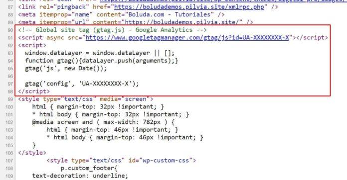 Comprobar que el script aparece en el código fuente