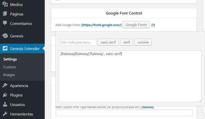 Código Google Fonts en Genesis Extender