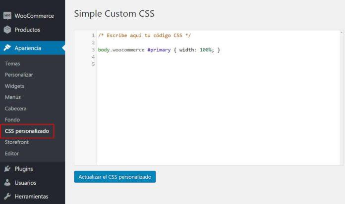 Añadir CSS con Simple Custom CSS