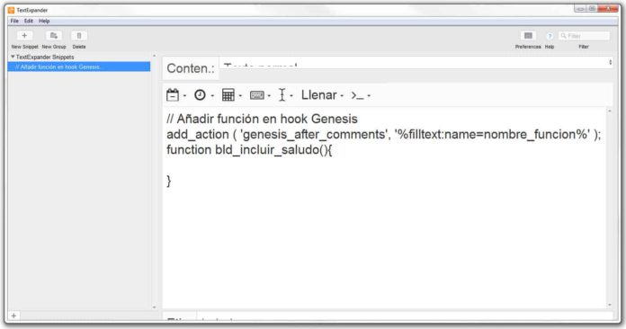 Código snippets con campo fill-in simple