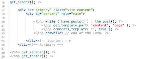 Parte del código de page.php en Twenty Twelve