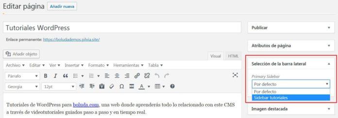 Colocar sidebar personalizado en una página concreta