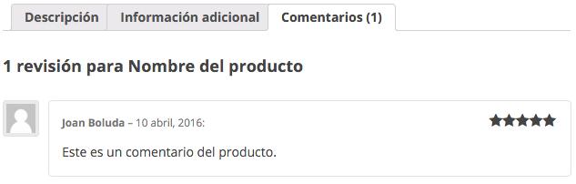 Los comentarios en WooCommerce son las valoraciones de producto
