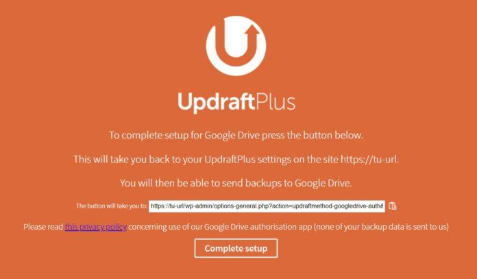 Finalizar configuración copias de seguridad en Google Drive