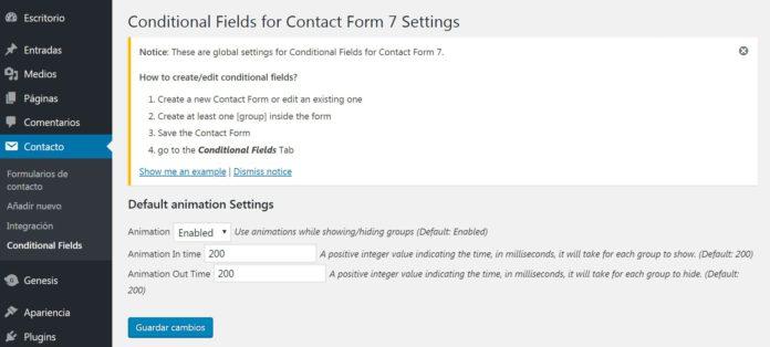 Configuración básica Conditional Fields for Contact Form 7