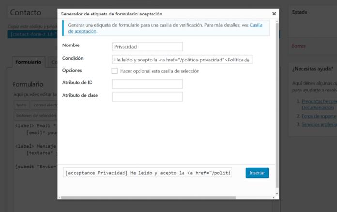 configuracion checkbox privacidad contact form 7