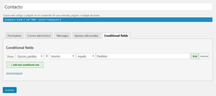 Agregar lógica condicional: Configurar visibilidad del campo
