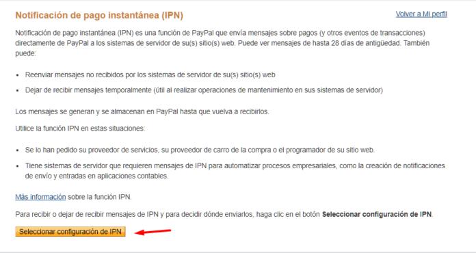Creamos por primera vez el IPN en Paypal