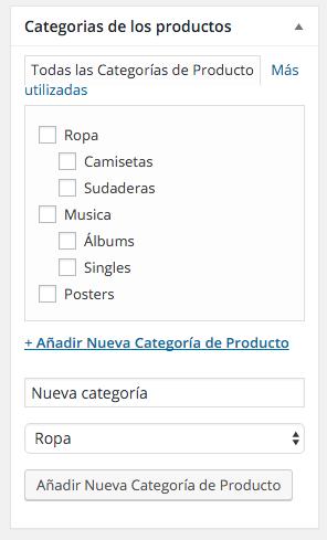 Podemos crear categorías desde la ficha de producto