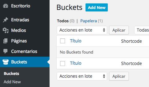 """Activando el plugin ya podremos crear """"buckets"""""""