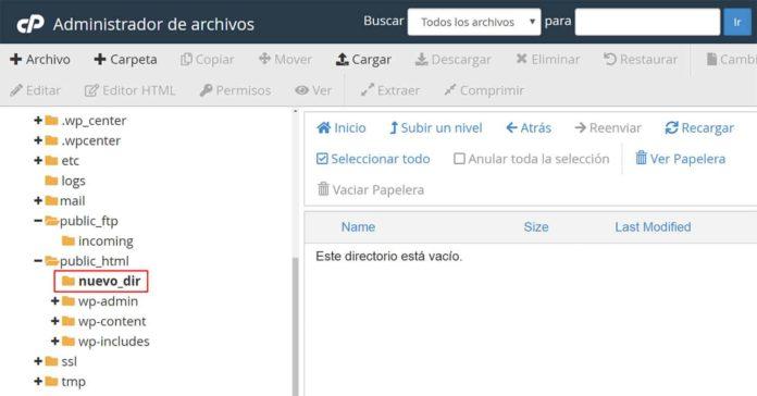 Crear subdirectorio desde el administrador de archivos
