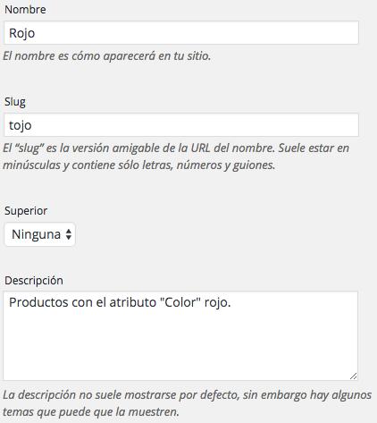 """Creamos el término """"rojo"""" en el atributo """"color"""""""