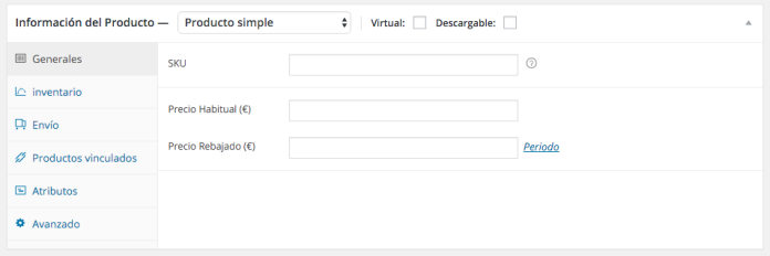 """""""Metabox"""" de información de producto donde introducimos los datos"""
