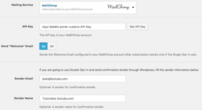 Configuramos Mailchimp