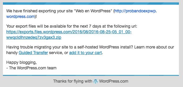 Correo que nos llega con una URL de descarga