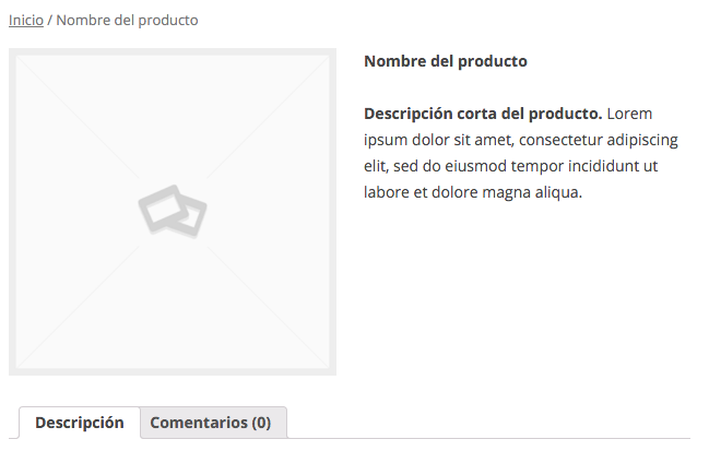 La descripción corta aparece al lado de las imágenes de producto
