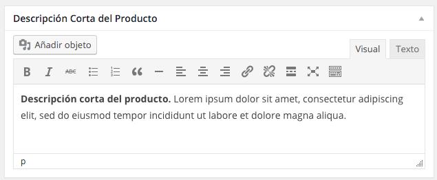 También podemos establecer una descripción corta en cada producto