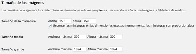 Dimensiones imagenes WordPress