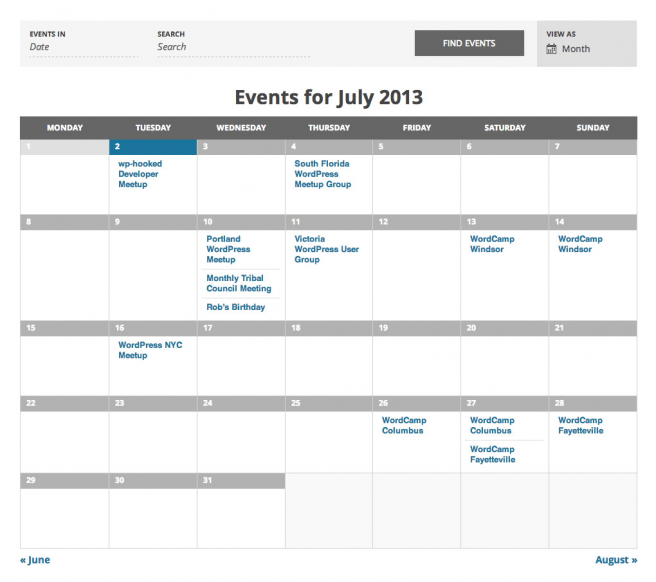 Calendario para WordPress