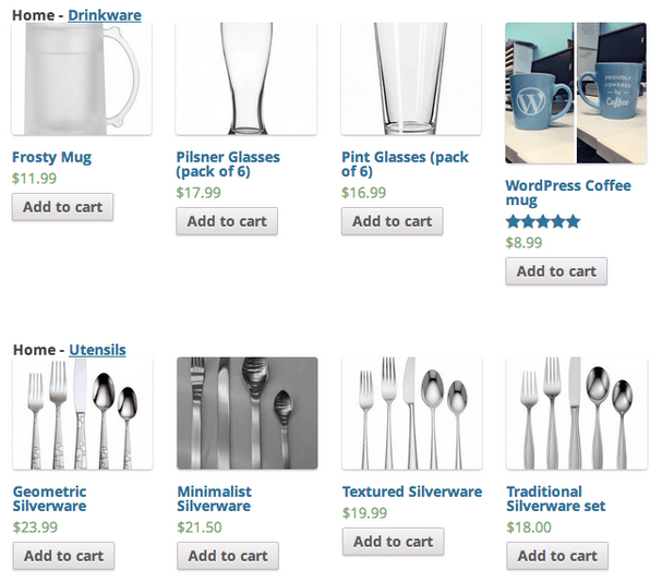 El plugin muestra cada categoría con sus productos