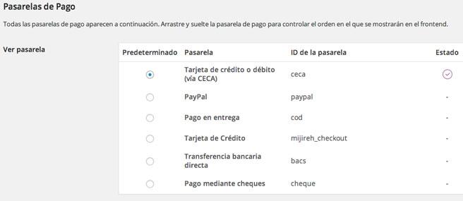 El plugin añade la pasarela CECA como método de pago para pagar con tarjeta