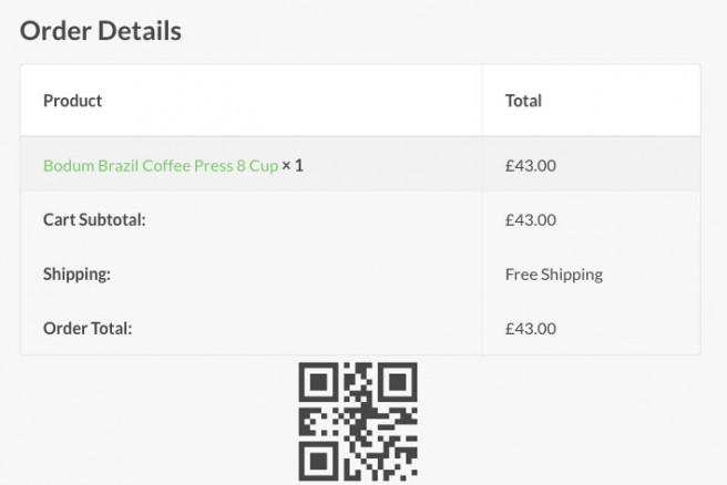 El código QR queda fácilmente insertado en cualquier pedido para que el cliente se lo imprima