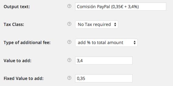 En este ejemplo, establecemos un 3,4% variable + 0,35€ por pedido
