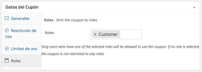 Podemos elegir el grupo de cliente o rol de usuario que queramos
