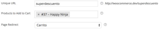 El plugin nos permite elegir la URL e incluso los productos a añadir al carrito