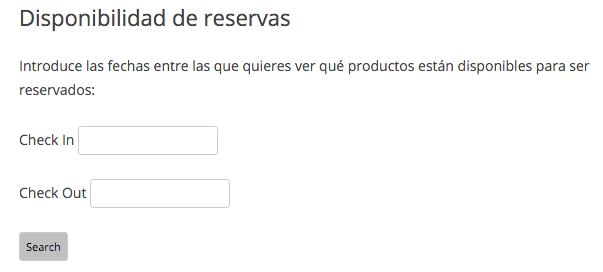 Podemos elegir el rango de fechas para ver qué productos están disponibles