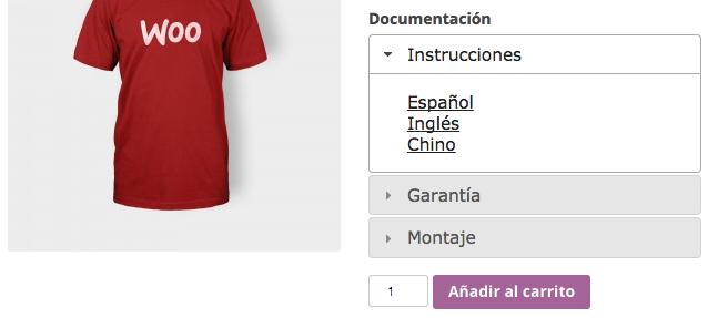 Documentación de producto en WooCommerce