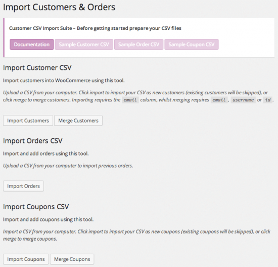 Aquí vemos las opciones para importar productos y pedidos a tu WooCommerce