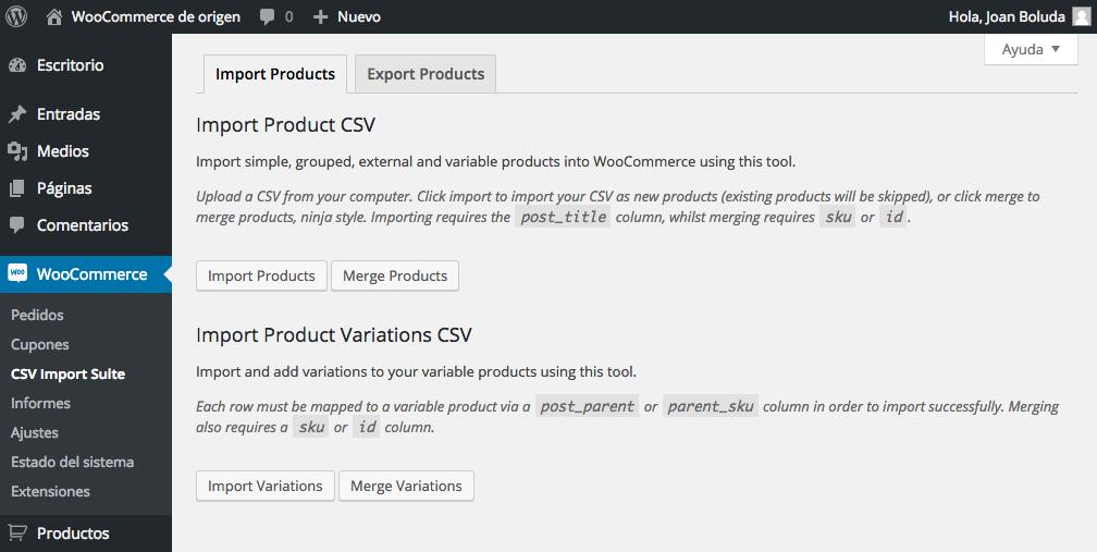 Podemos importar y exportar productos y variaciones.