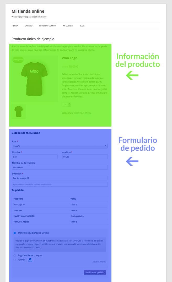 El formulario de pago está en la misma página de producto