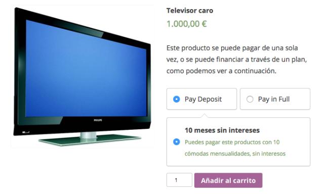 El usuario puede elegir si pagar de una sola vez, o en 10 mensualidades