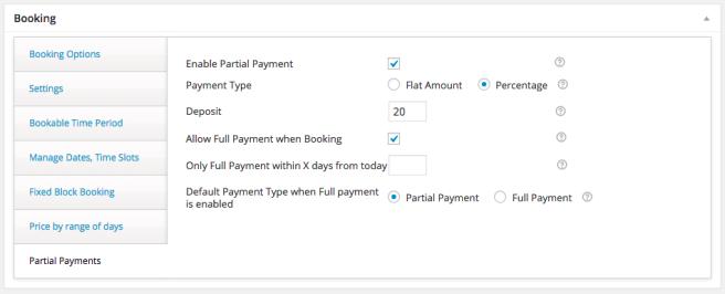 El plugin nos permite recibir un pago parcial, o ofrecer el pago total