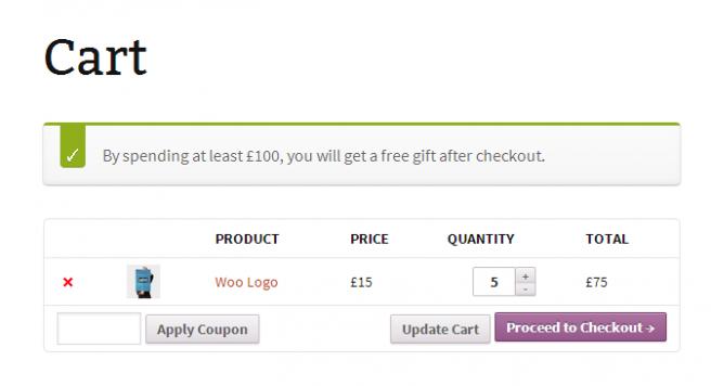 El plugin indica al usuario lo que debe gastar para optar al regalo