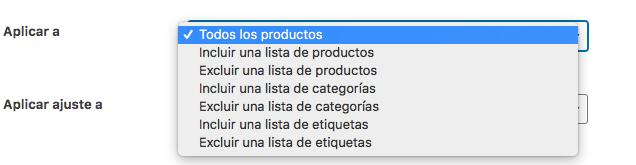 También podemos incluir o excluir productos, categorías o etiquetas