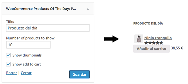 El widget nos permite mostrar los productos dónde queramos