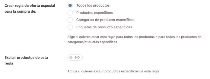 Podemos seleccionar a qué productos se les aplica el 3x2